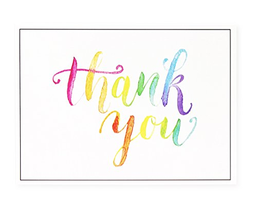 Sustainable Greetings Thank You Cards - 120-Pack Thank You Notes, Watercolor Design, Bulk Thank You Cards Set - Blank on The Inside - Includes Thank You Cards and Envelopes, White, 5.1 x 3.7 Inches