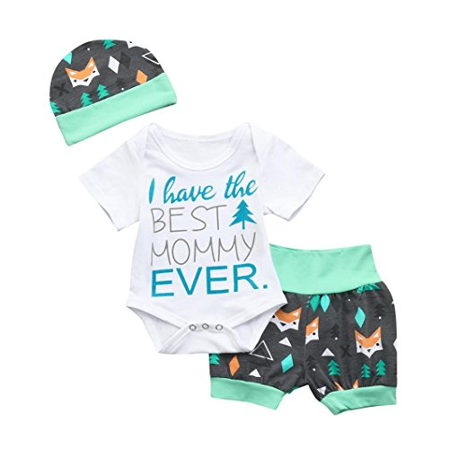 (General3 for 0-24 Months Baby, 3Pcs Newborn Baby Boys Girls Letter Arrow Print Romper Jumpsuit Shorts Outfits (Hat Letter Green, 0-6)