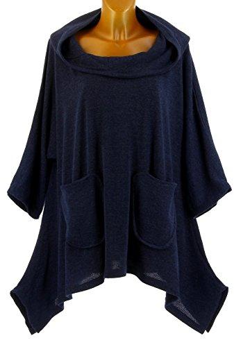 Blanca Bleu Taille Tunique Capuche bohme Grande Bleu Hiver Charleselie94 Bleu asymtrique y80YqwwB