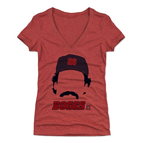 - 500 LEVEL Wade Boggs Women's V-Neck Shirt Small Tri Red - Vintage Boston Baseball Women's Apparel - Wade Boggs Silhouette B
