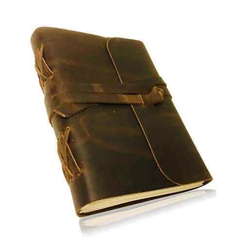 HANDMADE LEATHER JOURNAL for Men & Women | Soft Rustic Leather | Unlined Thick Paper | Best for Travel Diary & Journals to Write in (8