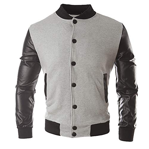 Men Autumn Winter Casual Button Jacket Windproof Coat Leather Sportswear Top Blouse Motorcycle Jacket (Gray, M)