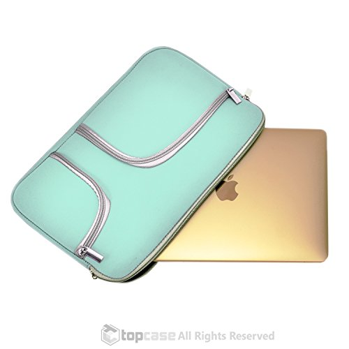 """TopCase Zipper Sleeve Bag with Handle and Pockets / Compartments for New Released Macbook 12"""" 12-Inch Model: A1534 Retina Noteboook"""