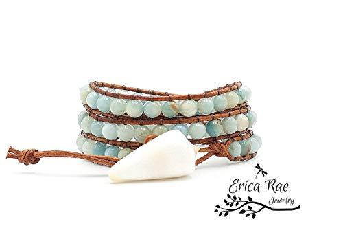Zanzibar Leather (Zanzibar Amazonite gemstone leather triple wrap sea shell bracelet)