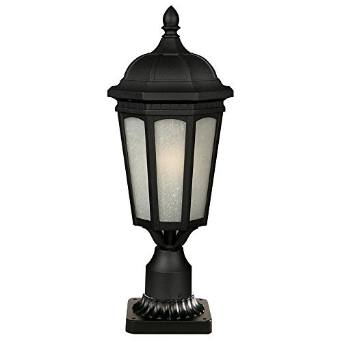 Z-Lite 508PHB-533PM-BK Newport One Light Outdoor Post Mount Light, Metal Frame, Black Finish and White Seedy Shade of Glass Material by Z-Lite