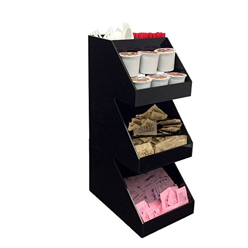 Mind Reader Acrylic 3-Tier Coffee/Tea Condiment Organizer, Black