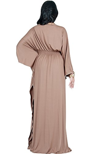 Adelyn Maxi Plus Sleeve Latte Dress Womens Brown Cocktail Long Size Vivian amp; Formal Evening YrwnqvpSY