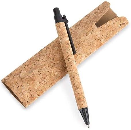 DISOK - Lote de 50 Boligrafos con funda corcho natural. Bolígrafos reciclados y ecológicos. Material oficina reciclado.