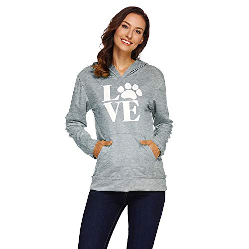(Women Print Love Long Sleeve Hooded,Cenglings Fashion Sweatshirt Blouse with Pocket Pullover with Pocket)