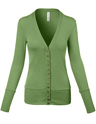 Meilleur Mode Sweater Long Sleeve Snap Button Cardigans Kiwi ()