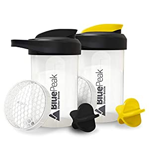 BluePeak Protein Shaker Bottle 20-Ounce, with Dual Mixing Technology. BPA Free, Shaker Balls & Mixing Grids Included