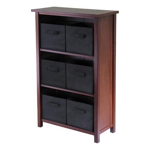 Verona Storage Shelf with 6 Foldable Baskets Basket Color: Black