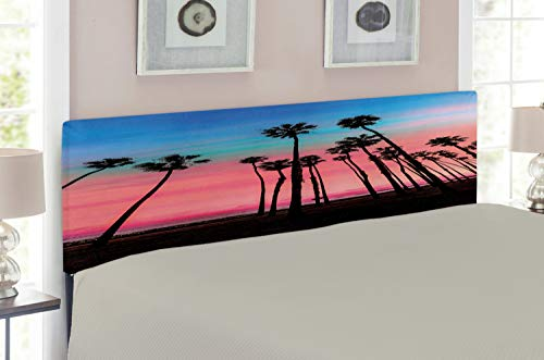 Lunarable Palm Tree Headboard, Tree Rows in Santa Barbara USA American Holiday Destination Dreamy Heaven Dawn, Upholstered Decorative Metal Headboard with Memory Foam, for Queen Size Bed, Pink Blue