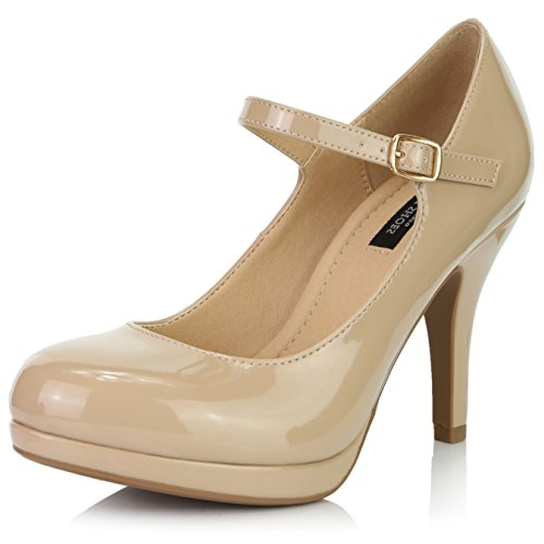 DailyShoes Women's Fashion Round Toe Buckle Strap Dress Cushioned High Heel Shoes, Beige Patent Leather, 9 B(M) US