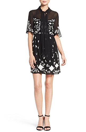 French Connection Midnight Garden' Embroidered Woven Fit & Flare Dress 6