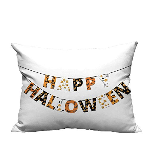 warmfamily Personalized Pillowcase Happy Halloween Banner Greetings Pumpkins Skull Cross Bones Bats Pennant Machine washableW15 x L15