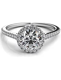 1.22 Ct Halo Set Solitaire Cubic Zirconia Promise Engagement Ring 925 Sterling Silver Ring Sizes 4-8