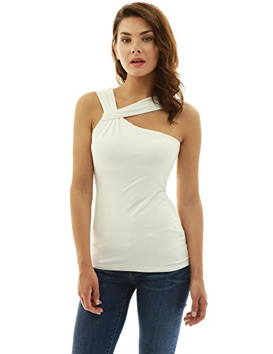 PattyBoutik Women's Twist Asymmetric Neckline Sleeveless Blouse (Ivory White M)