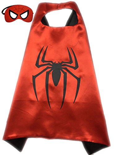 Superhero or Princess CAPE & MASK SET Childrens Halloween Costume (Red & Black (Spiderman))