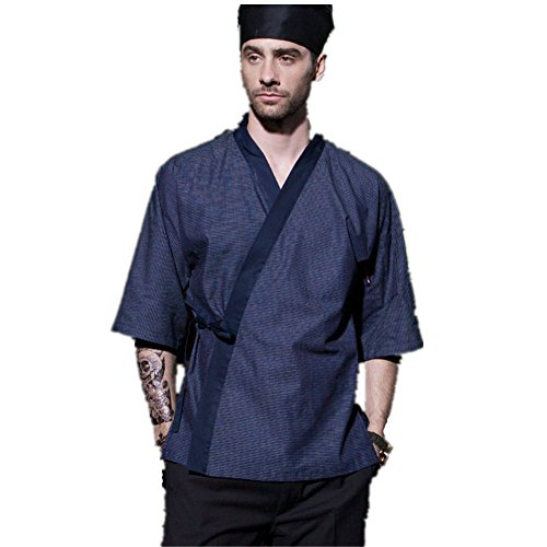 XINFU Japanese Kimono Short Sleeve Chef Kitchen South Korean Cooking Clothes Cook Clothes Korean Summer Dress Chef's Work Clothes by XINFU (Image #8)