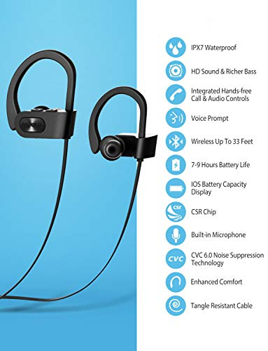 Mpow Flame Bluetooth Headphones, IPX7 Waterproof Wireless Headphones, Bass+/Hi-fi Stereo/in-Ear Sports Earphones w/Mic , 7-9 Hrs Playtime Bluetooth Earbuds, Perfect for Running and Gym Workout-Black