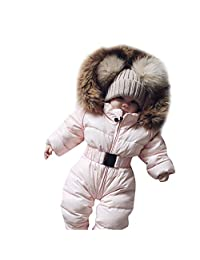 Clearance!! 3-24 Months Boy Girl Winter Hooded Romper Coat Warm Thicken Down Jacket Jumpsuit for Toddler Infant Baby