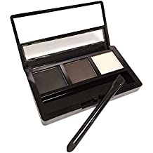 AMarkUp Three-Dimensional Natural 3-Color Face Eyebrow Powder Eye Shadow Palette with Double Sided Makeup Brushes Mirror Set (#02 Black)