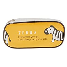 Cute Animal Paint PU Makeup Bag Kids School Pen Pencil Bag Case - Yellow, 21 x 11 x 5cm