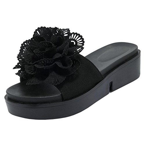 Taoffen Womens Slider Mules Shoes Flatform Black
