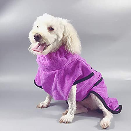 Kismaple Pet Cats Dog Bathrobe Towel Adjustable Soft Fast Drying Super Absorbent with Waist Belt Coat Robe for Puppy Small Medium Large X-Large Dogs S, Purple