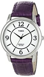 Timex Women's T2N690 Elevated Classics Dress Color Strap Collection Purple Leather Strap Watch