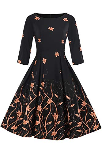 Babyonlinedress O-Neck 3/4 Sleeve Floral Printed Vintage Dresses for Women