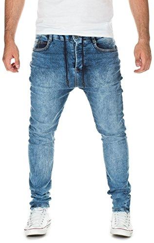 Yazubi Herren Sweathose in Jeansoptik Desmond - Jogginghose in Jeans-Look, blue used (m1452), W33/L34