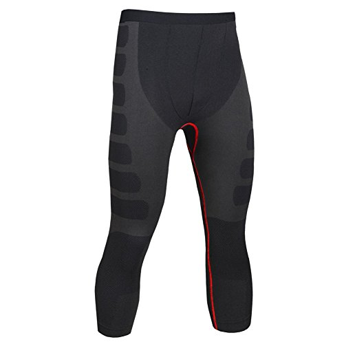 MASS21 Men's Compression Tight Pants Base Under Layer Running Shorts Warm Cool Dry Red Black Size L