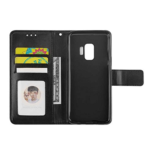 Galaxy S9 Case, Bear Village Leather Wallet Cover, Anti-Scratch Embossing PU Case with Magnetic Closure and Card Slots for Samsung Galaxy S9 (#9 Black) by Bear Village (Image #6)