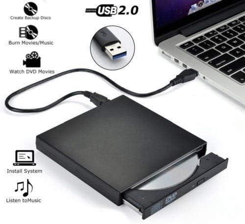 ZHZH-JP 外付けDVDドライブオプティカルドライブのUSB 2.0 CD-ROMプレーヤーCD-RWバーナーライターリーダーレコーダーPortatil