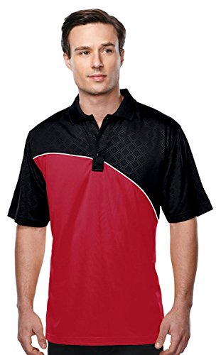 Tri Mountain Mens S S Golf Shirt   Red Black White   Xx Large