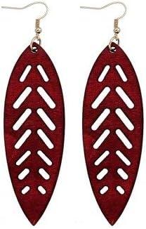 Boucles dOreilles Boh/ème ethnique en bois grande feuille pendentif pour mode africaine femme boucles doreilles bijoux accessoires cadeaux de f/ête