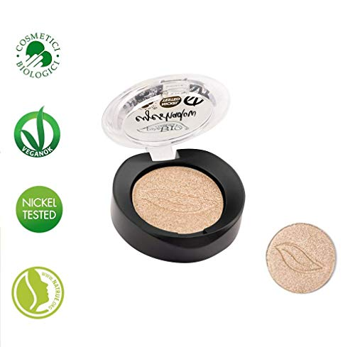 PuroBIO Certified Organic Highly-Pigmented and Long-Lasting Metallic/Shimmery Eyeshadow -no. 01 Champagne - with Vitamins and Plant Oils.VEGAN.ORGANIC.MADE IN ITALY.