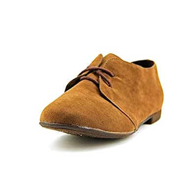 Breckelle's SANDY-31 Basic Classic Lace Up Flat Oxford Shoe,5.5 B(M) US,Light Brown-31W,5.5 C/D US