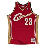 Lebron James Cleveland Cavaliers Mitchell and Ness Men's Red Throwback Jesey Large