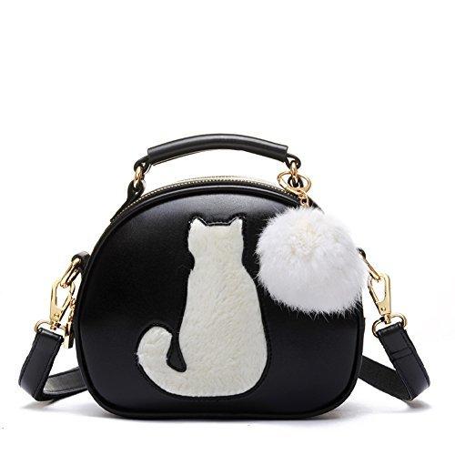 Women's PU Leather Waterproof Cross Body Shoulder Bags Wallet Lucky Cat Handbag (Black) ()