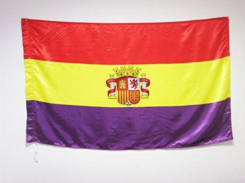 AZ FLAG Bandera ESPAÑA Republicana con Escudo 150x90cm en Raso ...