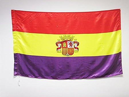 BANDERA ESPAÑA REPUBLICANA CON ESCUDO 150x90cm en RASO para palo - BANDERA DE LA REPUBLICA ESPAÑOLA 90 x 150 cm - AZ FLAG: Amazon.es: Hogar