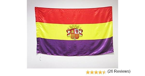 BANDERA ESPAÑA REPUBLICANA CON ESCUDO 150x90cm en RASO para palo ...