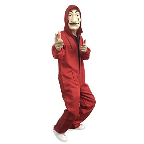2018 Hot La Casa De Papel Hallowen Cosplay Party Costume Red Coverall (Large) ()