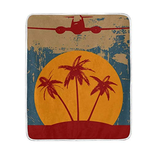 Frezi-z Soft Throw Blanket Grunge Tropical Palm Trees and Vintage Airplane Blankets for Nap Couch Bed Kids Adults 50 x 60 -