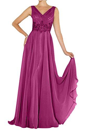 mit Lang Promkleider mia Chiffon Fuchsia Abschlussballkleider Brautmutterkleider Brau Applikation Elegant La Abendkleider Spitze 8YqPpnw
