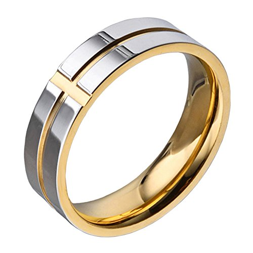 Cross Gold Mens Bands - SINLEO Men's 6mm Titanium Classic Wedding Rings Christian Grooved Cross Line Engagement Band Silver Gold Size 7