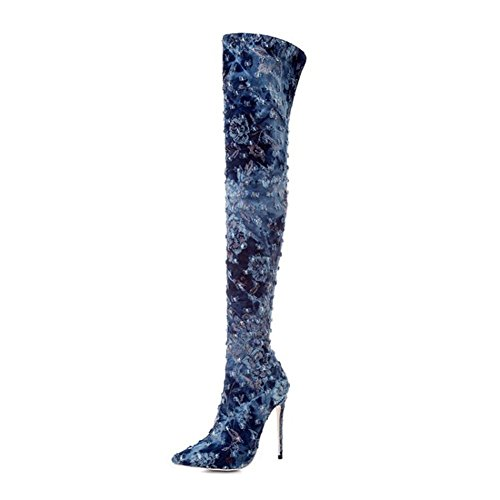 NVXIE Women's Ladies Over Knee Thigh Boot Long Boots Pointed Toe Stiletto High Heel Shoes Denim Fall Winter BLUE-EUR36UK354 GCB4DIp